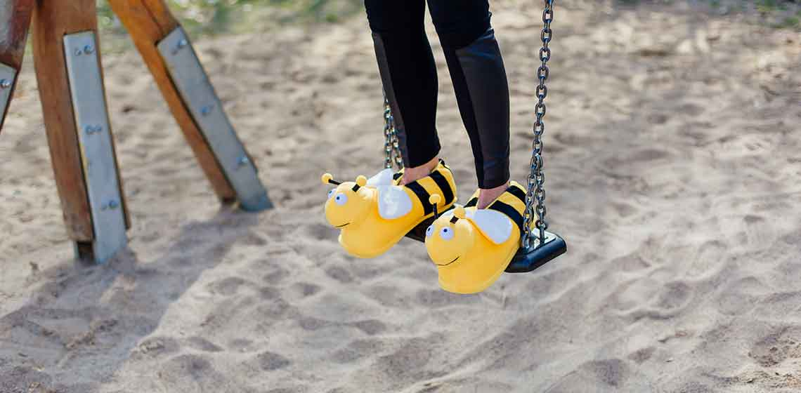 funny bee slippers HAPPY
