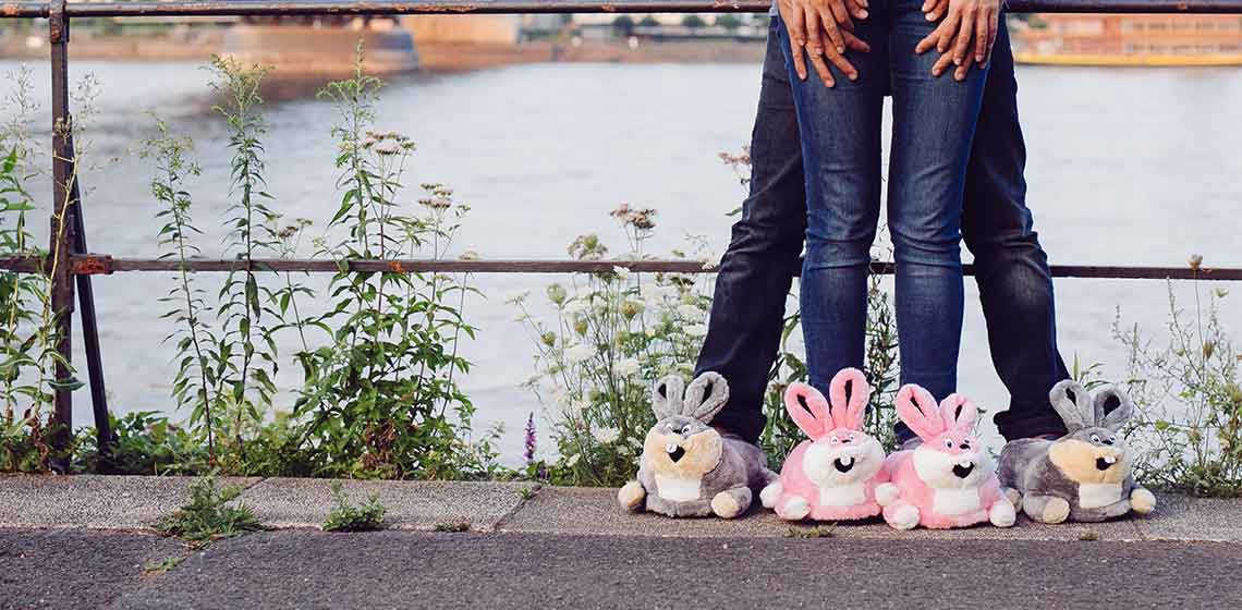 funny bunny slippers grey and pink