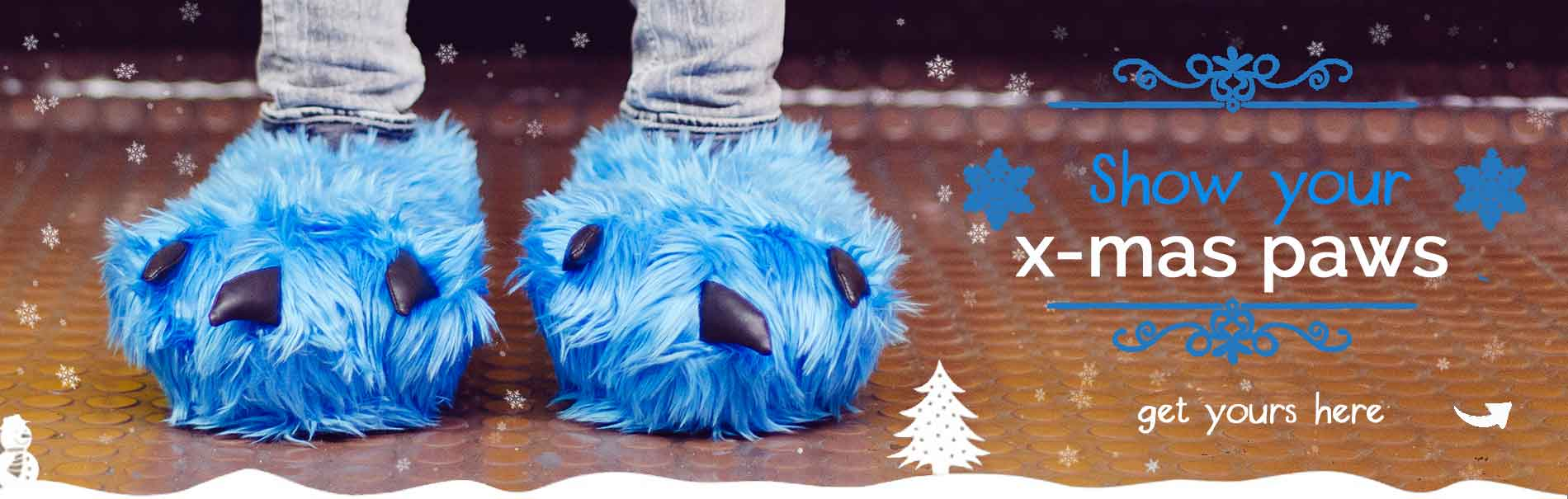blue paw slippers with claws