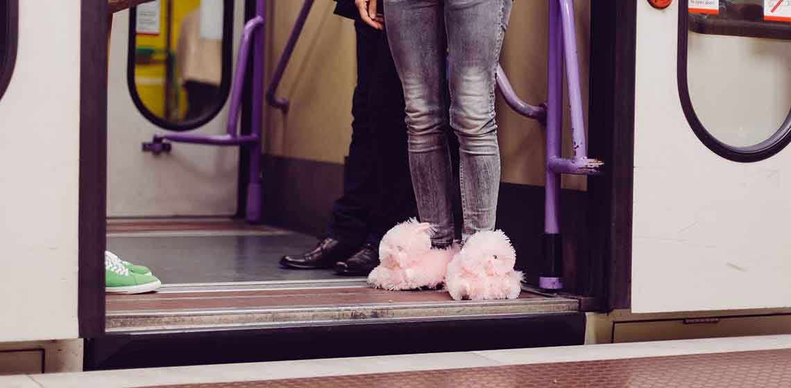 plush slippers pink bunny FLUFF