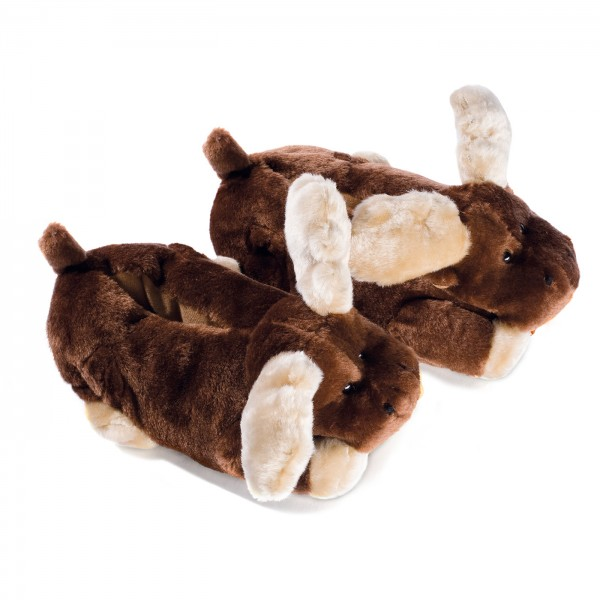 Brown Plush Moose Slippers