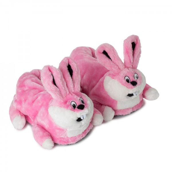 Plush Slippers Pink Crazy Bunny
