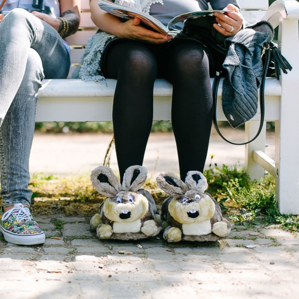 Grey Plush Bunny Slippers