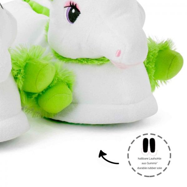 Unicorn Slippers green white
