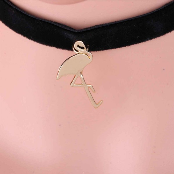 Velvet flamingo choker gold