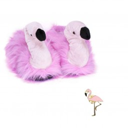 Funny Flamingo Plush Slippers & flamingo pin brooch
