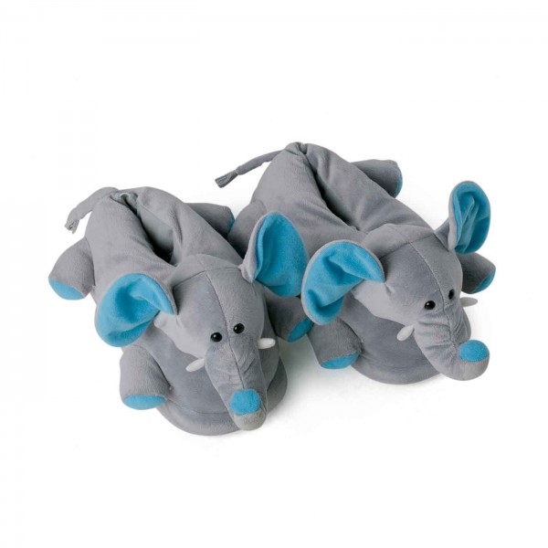 Elephant plush slippers blue ears