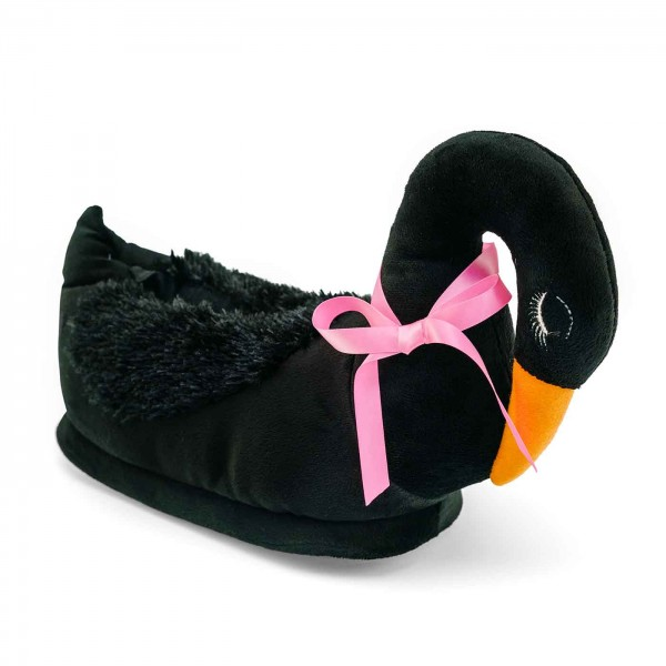 Elegant Swan Plush Slippers for two