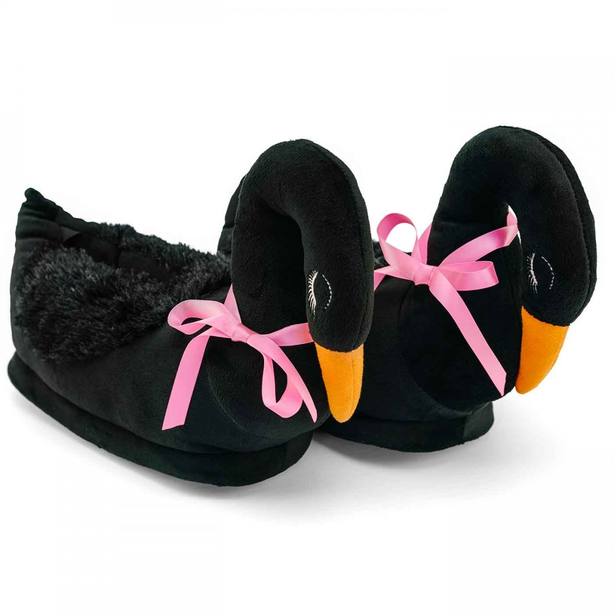 Funny Black Swan Plush Slippers