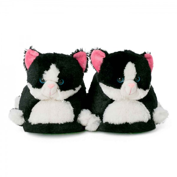Cat slippers black white